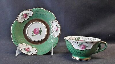Winterling Bavaria Germany Pink Rose on Green & White Cup & Saucer