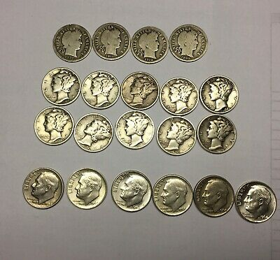 US SILVER DIME LOT 2.00 FACE VALUE 90 % Silver BARBER MERCURY ROOSEVELT