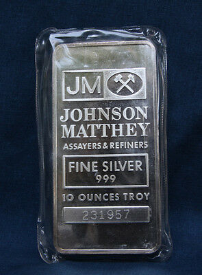 Johnson Matthey 10 Oz. Silver Bar Sealed In Original Mint Packaging