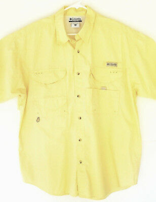 e01956046bb Columbia Mens Yellow Vented PFG Performance Fishing Gear Short Sleeve Shirt  Sz M
