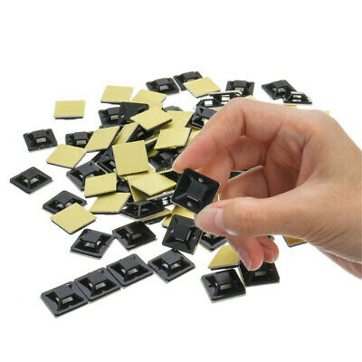 7a59a4d1cefc 100/200X Self Adhesive Cable Zip Tie Wire Mount Base Clamps Wall Holder 18*
