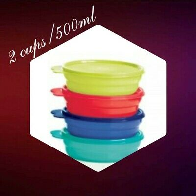 NEW Tupperware Lot of 4 Microwave Reheatable Cereal Bowls Pretty Colors