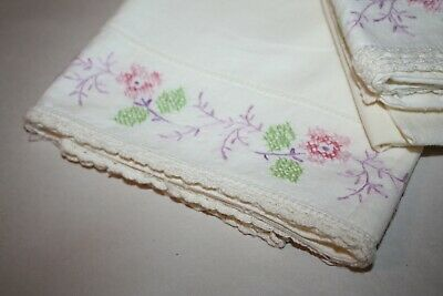 Pair of Vintage Embroidered  Floral Crochet Trim Pillowcases, Pink, Purple,Green