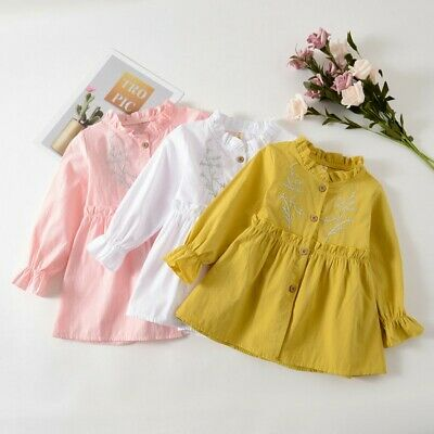 Infant Baby Girls Cute Long Sleeve Solid Ruched Floral Dressed Clothes