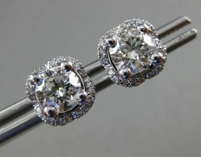 Estate 1.61Ct Round Diamond 14Kt White Gold 3D Square Halo Classic Stud Earrings