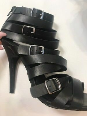 b28204926452 Black Gladiator Stiletto Sandal Open Boot 8.5 Ankle Back Zip Shoe Cult  Nasty Gal