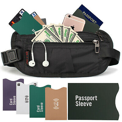 Money Belt Travel Bag Secure Waist Zip Pouch RFID Blocking Card Passport Sleeves
