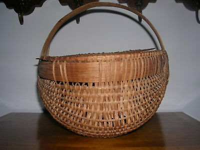 Antique Splint Wood Basket 10 Inches By 10 Inches
