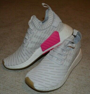 1cc774aaecab8  BY9954  Womens Adidas Originals NMD R2 PK Primeknit Sneaker - White Pink  US 9.5