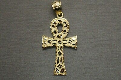 "10K Solid Yellow Gold 1.5"" Diamond Cut Nugget Egyptian Cross Charm  Pendant."