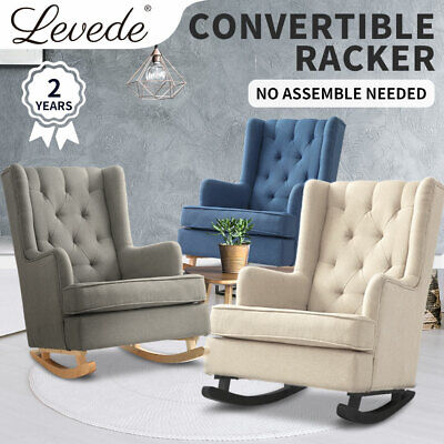 Levede Rocking Chair Chairs Armchair Fabric Lounge Recliner Feeding Sofa Rocker