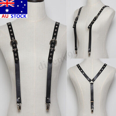 Unisex Black Leather Suspenders Braces Adjustable Decoration Denim Shorts Jeans