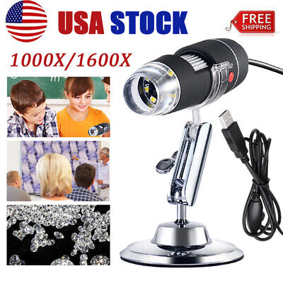 1000/1600X 8LED USB 2.0 Digital Microscope Endoscope Zoom Camera Magnifier+Stand