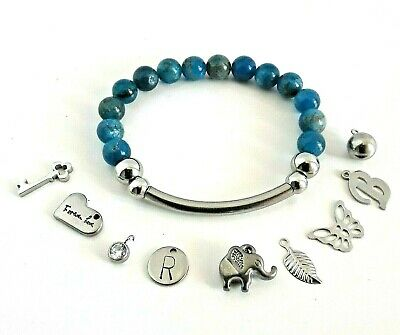 Custom Made Personalised Natural Stone Blue Apatite Bead Beaded Tube Bracelet