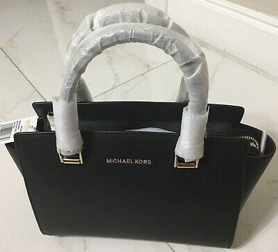 fbb19f412d04 *NEW* Authentic MICHAEL KORS PURSE Selma Leather 35H8GLMS2L Black MD TZ  Satchel
