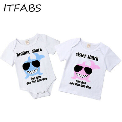 CA HOT Toddler Kid Baby Summer Little Brother Big Sister Rompers T-shirt Outfits