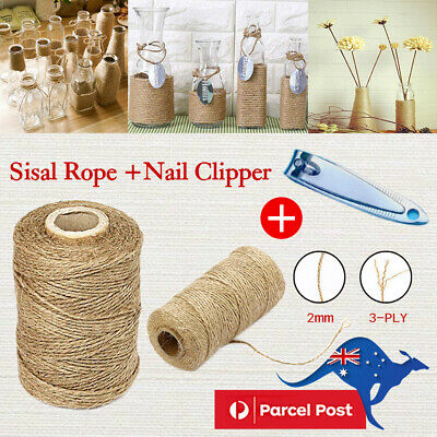 AU 3Ply 100m Natural Brown Soft Jute Rope Twine Sisal String For Art Gift Bottle