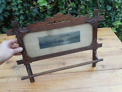 Antique Victorian Walnut ? Carved Towel Bar Rack Lighthouse Sea Ocean Scene