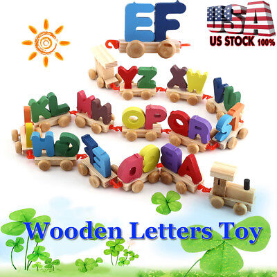 Wooden Train Set Alphabet Wood Letters w Wheels Kids Toddler Educational Toy US