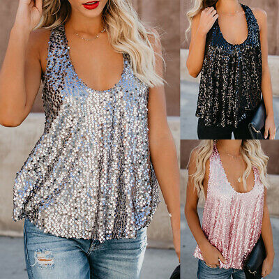 Womens Sleeveless Sequin Sparkly Vest Tank Tops Ladies Summer Beach Shirt Blouse