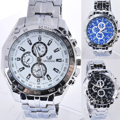 Men Casual Stainless Steel Band Quartz Analog Round Wrist Watch Fathers Day WT
