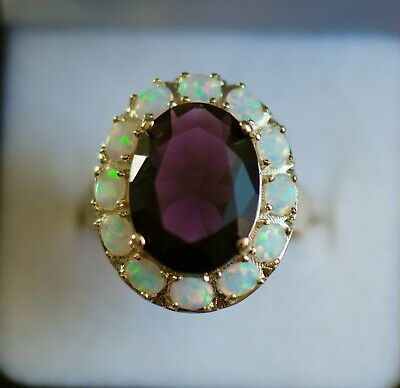 Art Deco Vintage Jewellery Gold Ring Amethyst And Opal Antique Dress Jewelry
