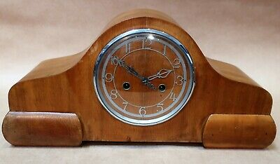 Antique Vintage Art Deco Smiths Enfield Mantle Clock Working With Key