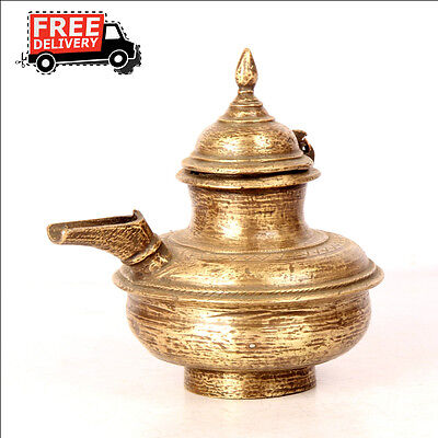 1930'S Old Brass Solid Unique Shape Handcrafted Holy Water Pot, Rich Patina 7633