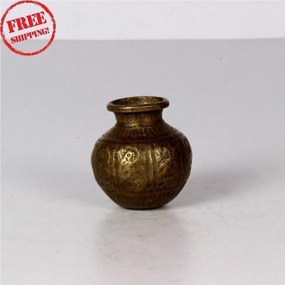 1920's Old Brass Unique Handcrafted Fine Inlay Engraved Brass Lotta / Pot 1359