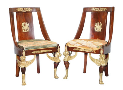 Antique French Sleigh Back Second Empire Circa 1852 Mahogany Chairs Period Pair