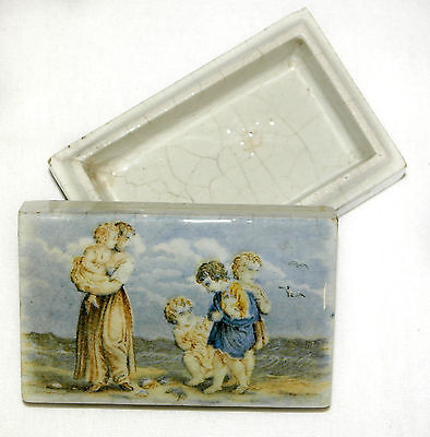 Antique Prattware Pot & Lid Jewellery Box Hand Painted Very Early Piece Rare