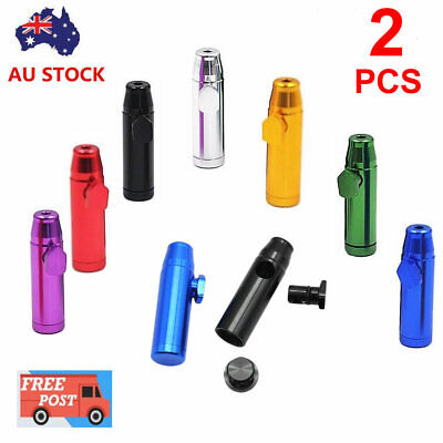 2Pcs Aussie Snuff Metal Bullet Rocket Dispenser Snorter Snuffer Tube Vial