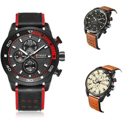 CURREN 8250 Men's Fashion Sport Watches Military Leather Band Quartz Wrist Watch