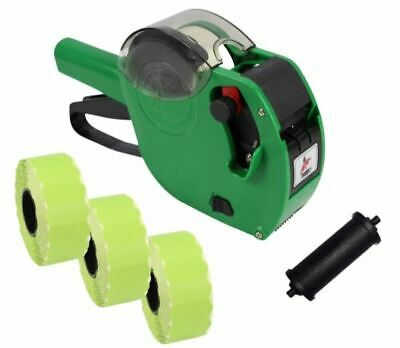 Panther PL-2612 9 Digit Pricing Gun with 4,500 Green Perm Labels + Spare Ink