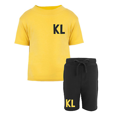 Personalised Initial Toddler Tracksuit Kids Shorts Suit Set Summer Custom Yellow