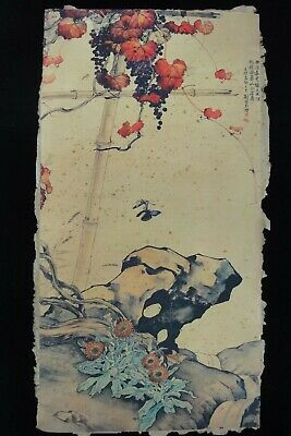 "Very Old Large Chinese Paper Painting Flowers Vines ""LiuKuiLing""Marks"