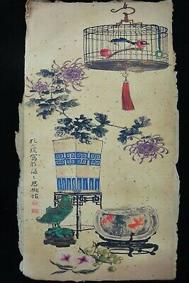 "Very Large Old Chinese Paper Painting Bird Flowers ""KongXiaoYu"" Marks"