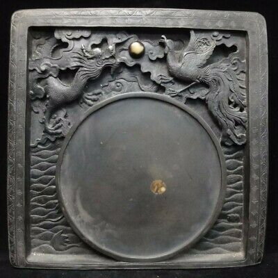 Large Heavy Old Chinese Dragon Phoenix Carving Ink Slab Ink Stone Mark