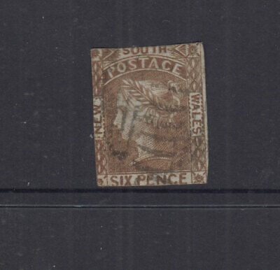 NSW 1853 6d Brown LAUREATE-No Wmk -imperf -tight margins-SG77 Cat £300 G-FU
