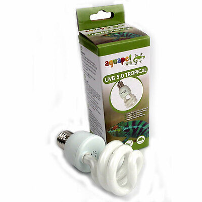Reptile Compact Fluorescent UV UVA + UVB + Tropical 5.0 15W Pack of 2 or 4