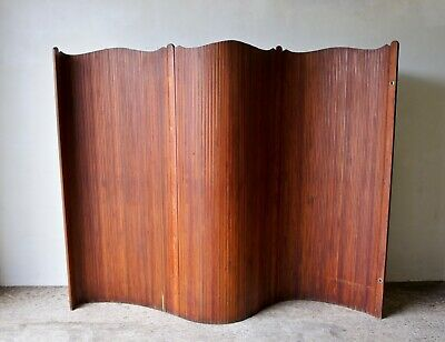 Original Early 20Th Century Art Deco French Tambour Screen Room Divider