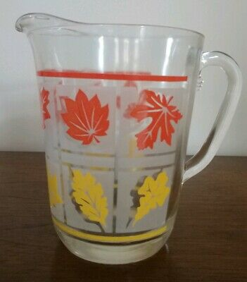 HAZEL ATLAS Vintage GLASS PITCHER with Orange and Yellow Leaves 6.5 Inches