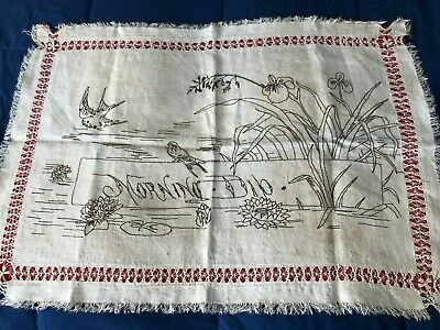 Antique handmade Linen Embroidered and Pulled Thread Wall / Table Piece