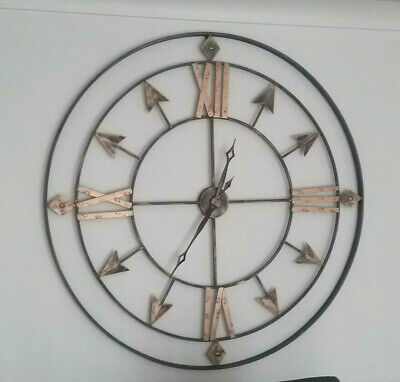 Extra Large Metal Wall Clock, Antique Grey & Gold 47inch Diameter -  Brand New