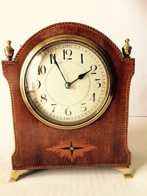 Edwardian French Art Deco Mahogony 8 Day Mantle Clock Working Order Stunning