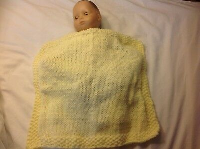 """Bitty Baby 15"""" doll hand knit blanket light yellow girl/boy doll clothes"""