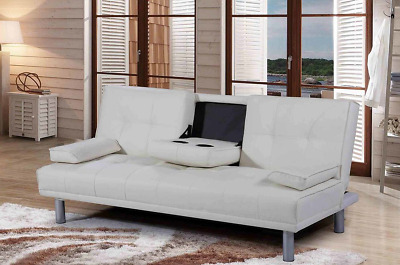 Modern White Sleep Design Manhattan 3 Seater Sofa Bed With Cup Holders