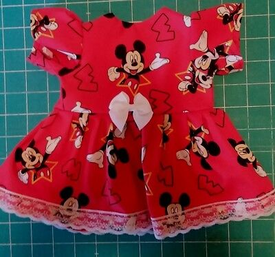 """Fits 14""""15"""" Bitty Baby Twin doll clothes Mickey Mouse dress diaper 2 pc set"""