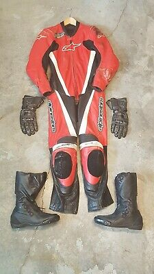 Youth motorcycle safety LOT ! Alpinestar Youth One Piece Suit XL, boots, gloves