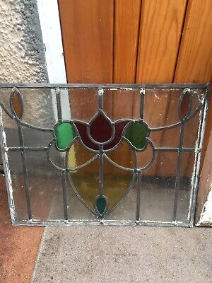 Antique Stained Glass Window Panel, Wooden Frame, Vintage Glass Window, Old